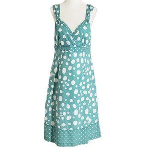 Boden Women's Sun Dress Green Polka Dot Sz 8 Green
